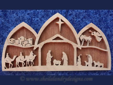 Sldk216 Arched Nativity Scene Wood Scroll Saw