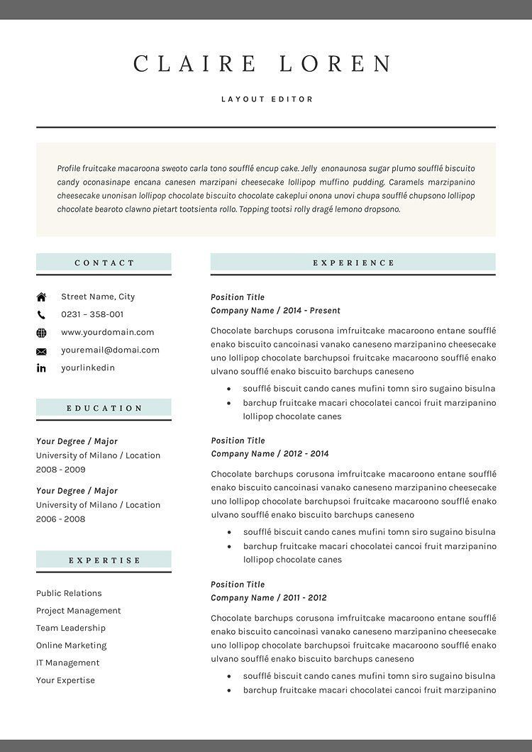 Resume/CV Template by GResume on creativemarket Resume