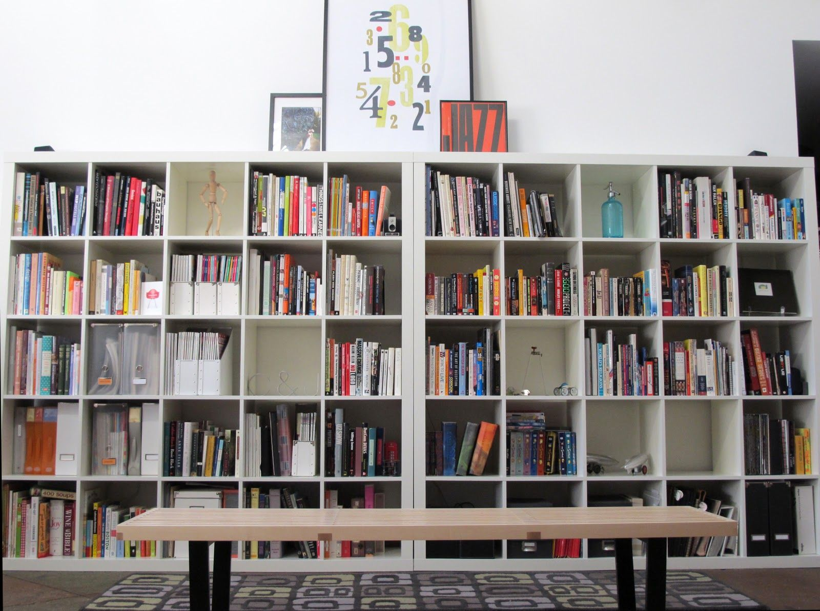 Library From Living Room Shelves 2 5x5 Expedit Bookshelves Ikea
