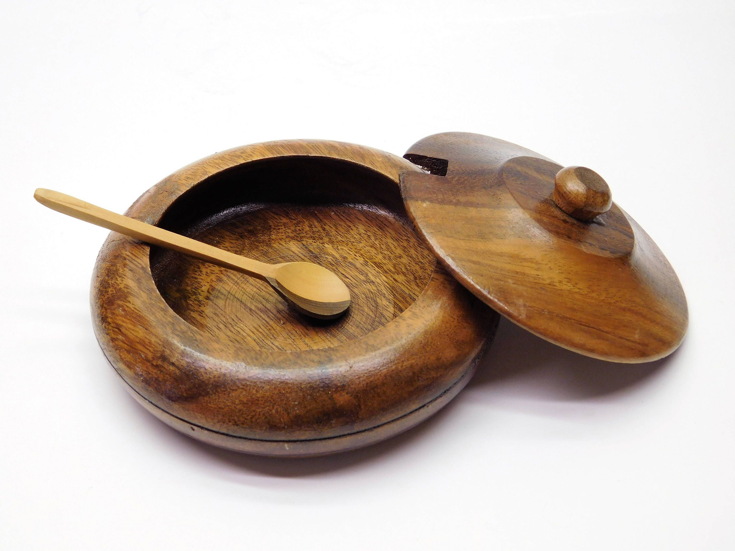 Handmade   Rusticity/® Wooden Sugar Bowl with Lid and Spoon Brass 5x4in