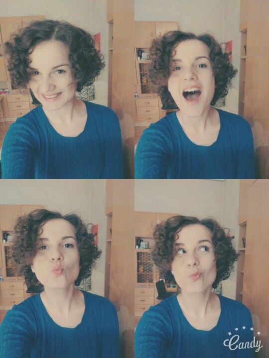 Curly hair and crazy face