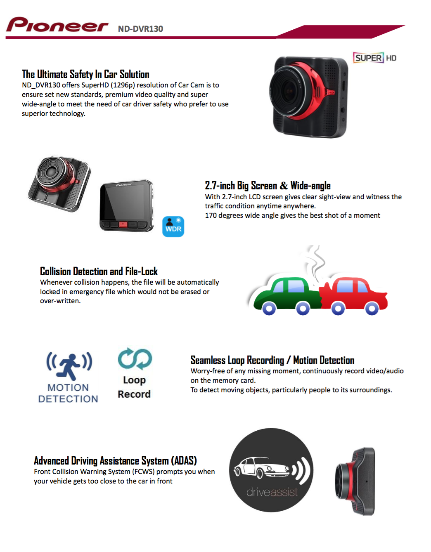 L A Car Accessories offers Pioneer ND-DVR 130 Dash Camera