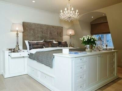Platform bed with a home dresser... Love this look with the fabric headboard.