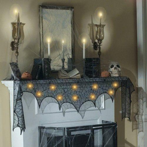 Halloween Mantle Scarf Black Lace Cobweb Fireplace Party Prop Decor