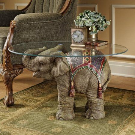Unique Furniture Round Glass Top Side Table Asian Elephant Animal Jaipur India