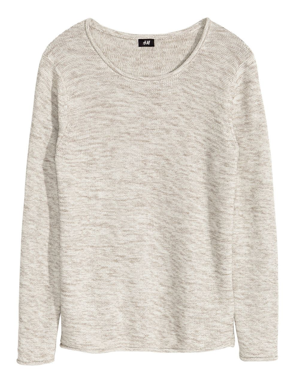 Purl-knit Cotton Sweater | Light beige melange | Men | H&M US ...