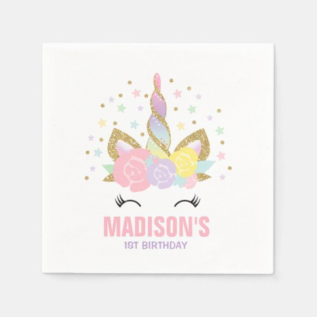 Unicorn Birthday Party Napkin Whimsical Unicorn   Zazzle com - Birthday party napkin, Unicorn birthday party invitation, Unicorn birthday parties, Unicorn birthday, Unicorn party decorations, Party napkins - Unicorn Birthday Party Napkin   The Glitter effect within this design is a digital image made to look like real glitter   High quality and still gorgeous, but no actual real glitter will be used in the making of this product   All designs are © PIXEL PERFECTION PARTY LTD