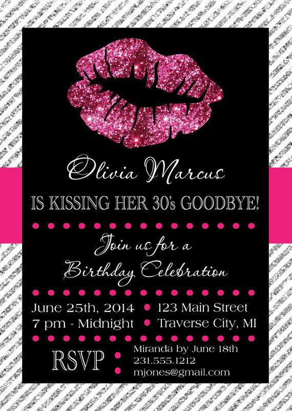 Lips Invitation - Printable for Birthday or Bachelorette Party - birthday itinerary template