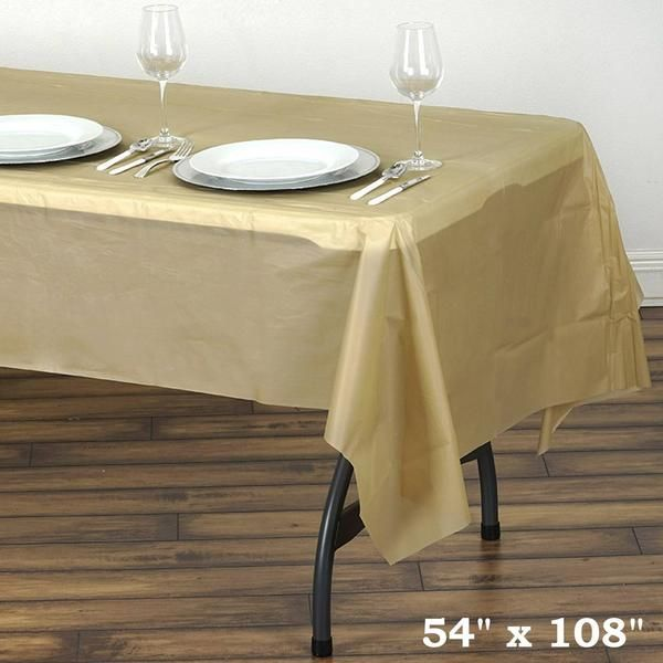 54 X 108 Gold 10mil Thick Disposable Plastic Vinyl Picnic Rectangular Tablecloth With Images Table Cloth Table Covers Picnic Table Covers