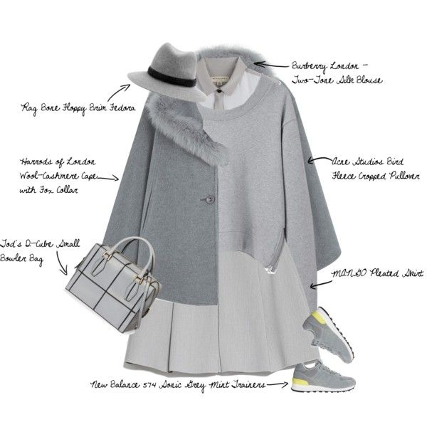 NYFW/FW15 TrendSpot: Cape Crusader & Grey Matters by fashionscribbles on Polyvore featuring Burberry, Acne Studios, Harrods, MANGO, New Balance, Tod's, rag & bone, grey, gray and newyorkfashionweek
