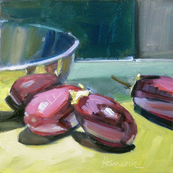 Purple Eggplant Aubergine Kitchen Wall Decor Poster: Painting Of Silver Bowl And Purple Eggplant On Chartreuse