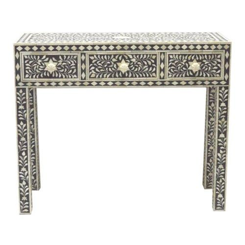 Black Hall Table bone inlay console hall table - floral black - raja collection