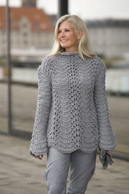 112a645f26d Sweater med Påfuglemønster | Strik og opskrifter | Trøjer, Bluse og ...