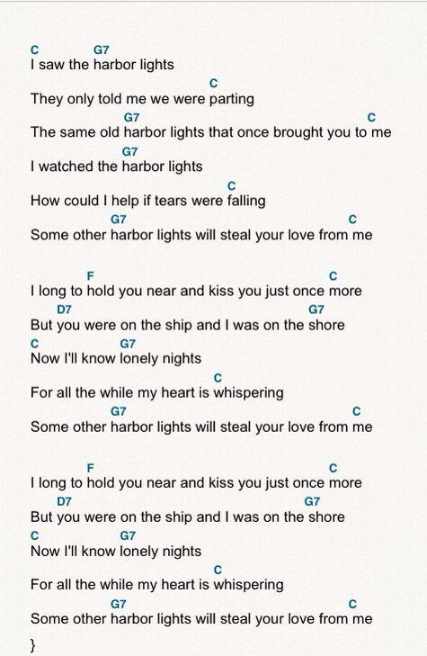 Harbor Lights Ukulele Chords And Lyrics Ukulele Songs Ukulele