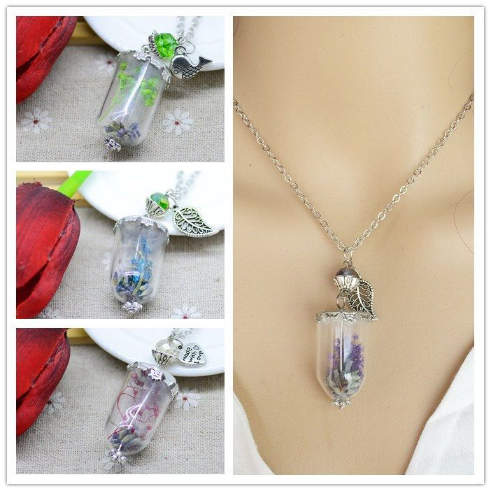 Fashion Pretty Dry flower plant Glass Dome Cover Pendant Chain Sweater Necklace #hopedust