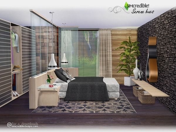 Serene Hues Bedroom By Simcredible At Tsr Sims 4 Updates Sims House Sims 4 Bedroom Sims 4 Modern House