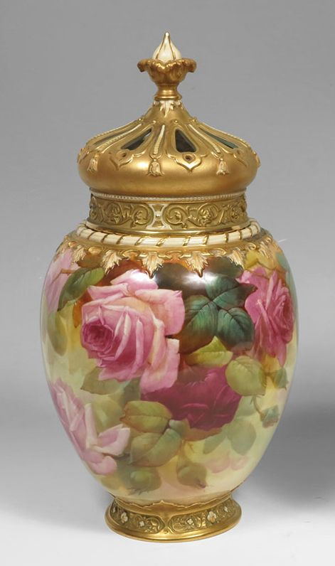 Royal Worcester Covered Potpourri Jar Handpainted By