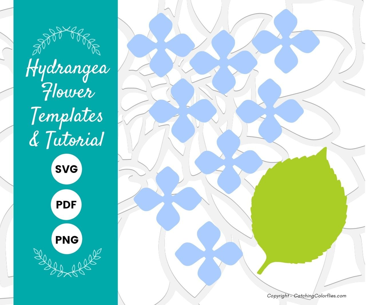 Hydrangea Paper Flower Templates Flower Svg Files Flower Template Paper Flower Template