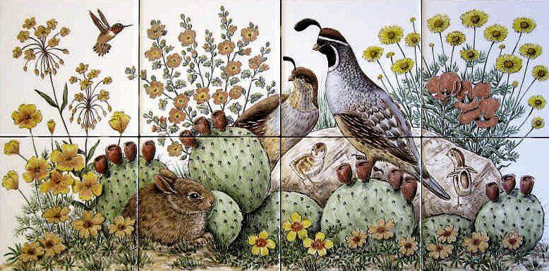 E P S Desert Peaceful Desert Scene With Gambel S Quail Family Ruby Throated Hummingbird Adorable Baby Ra Tile Murals Botanical Art Prints Painting Tile