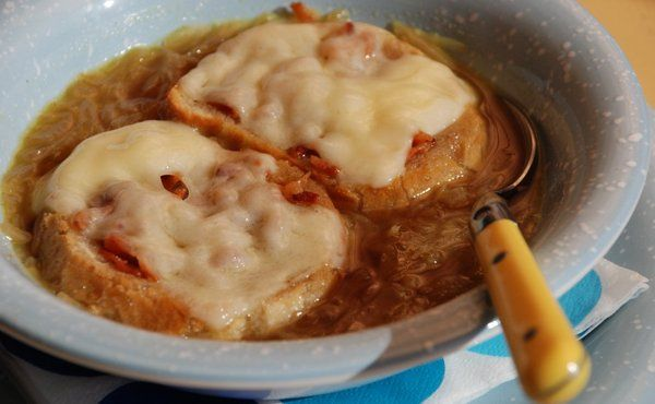 Easy Onion Soup with Bacon, Swiss Cheese Crostini in Recipes on The Food Channel®