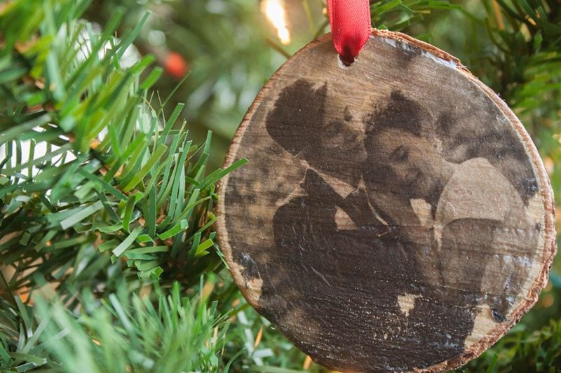 Use photo transfer mod podge to create personalized ornaments and gifts