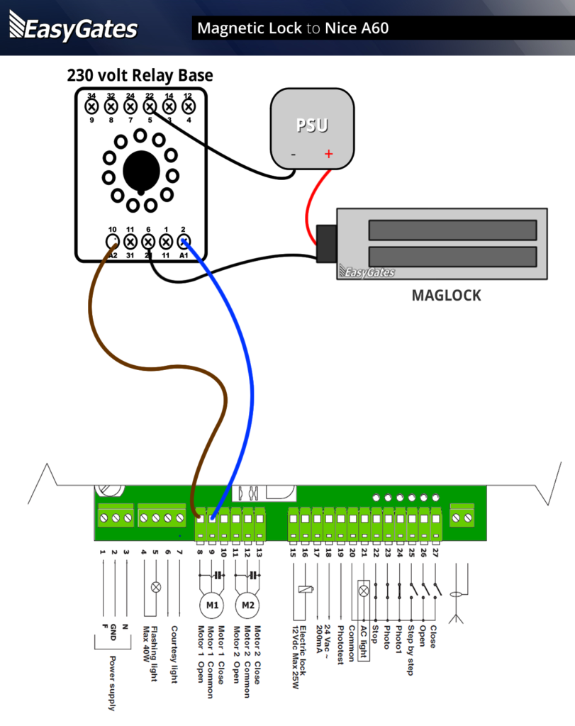hight resolution of maglock to nice a60 panel flattened in magnetic door lock wiring diagram
