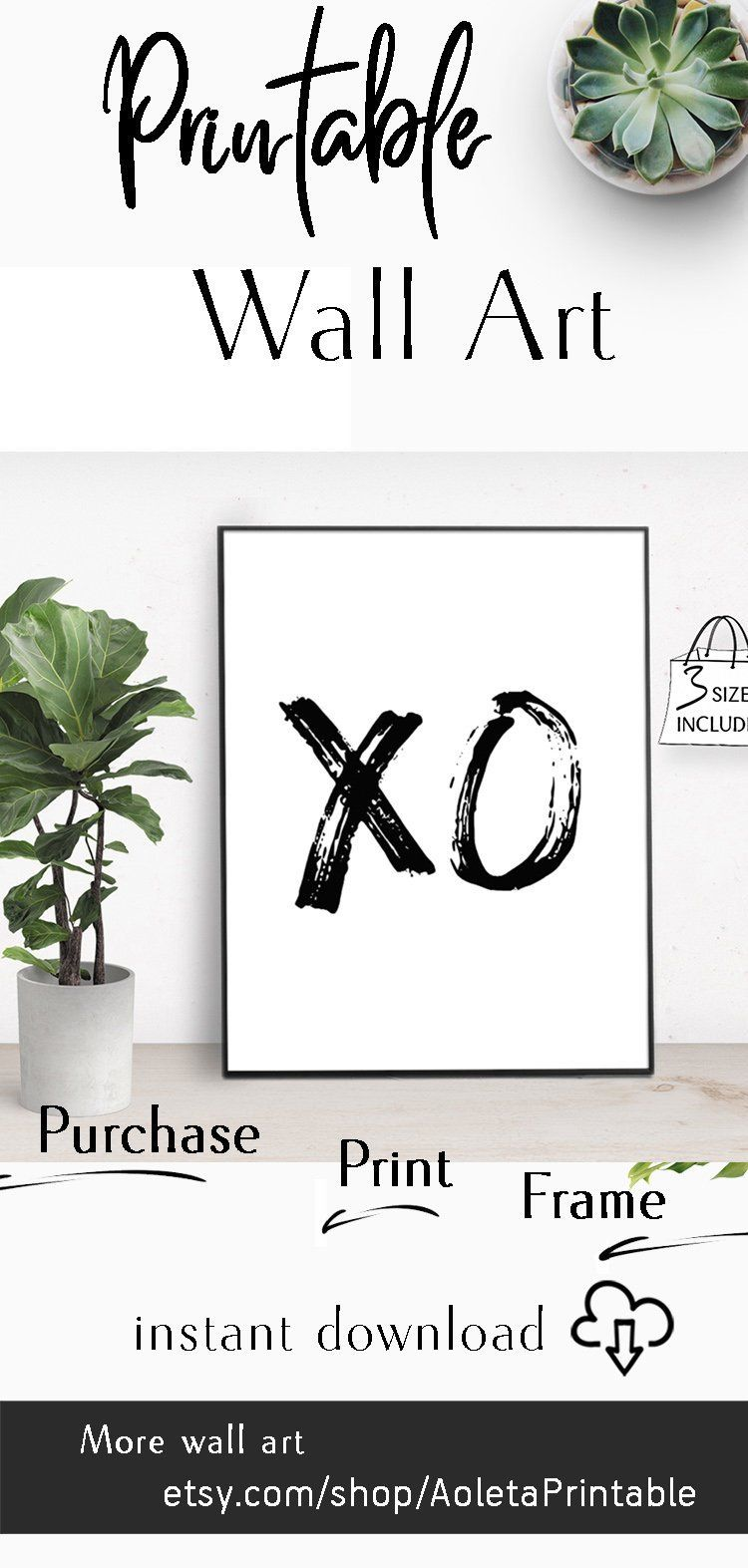 Brush black xo wall art printable xo poster quote wall art
