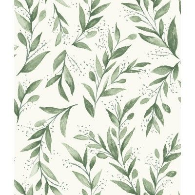 Roommates Olive Branch Magnolia Home Wallpaper Green In 2021 Magnolia Homes Peel And Stick Wallpaper Home Wallpaper