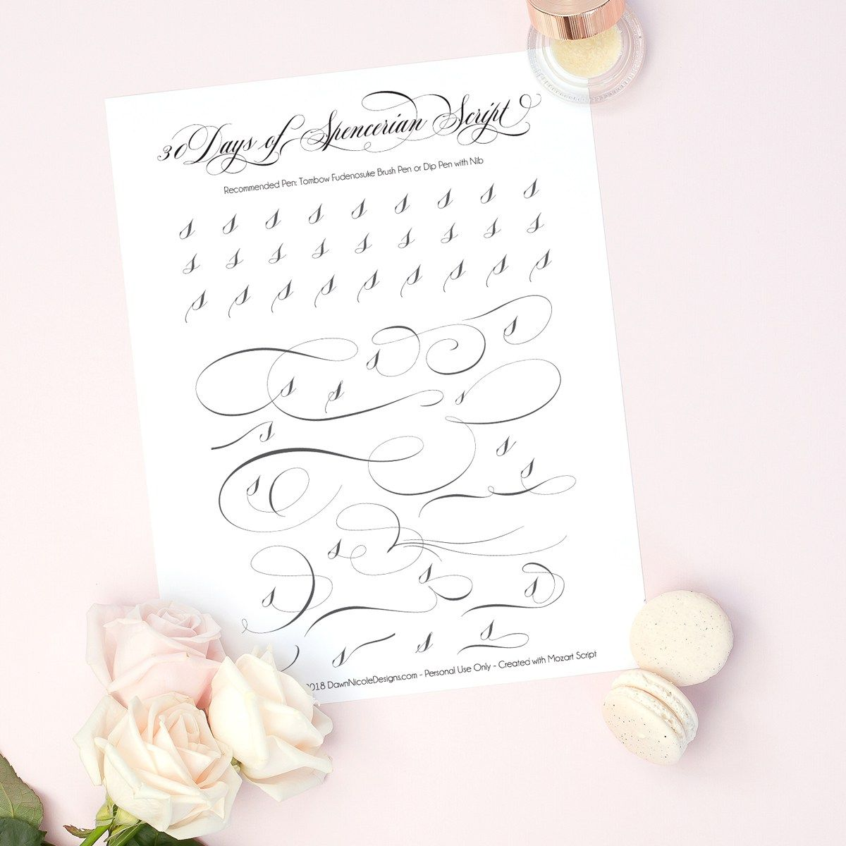 Spencerian Script Style Letter S Worksheets With Images
