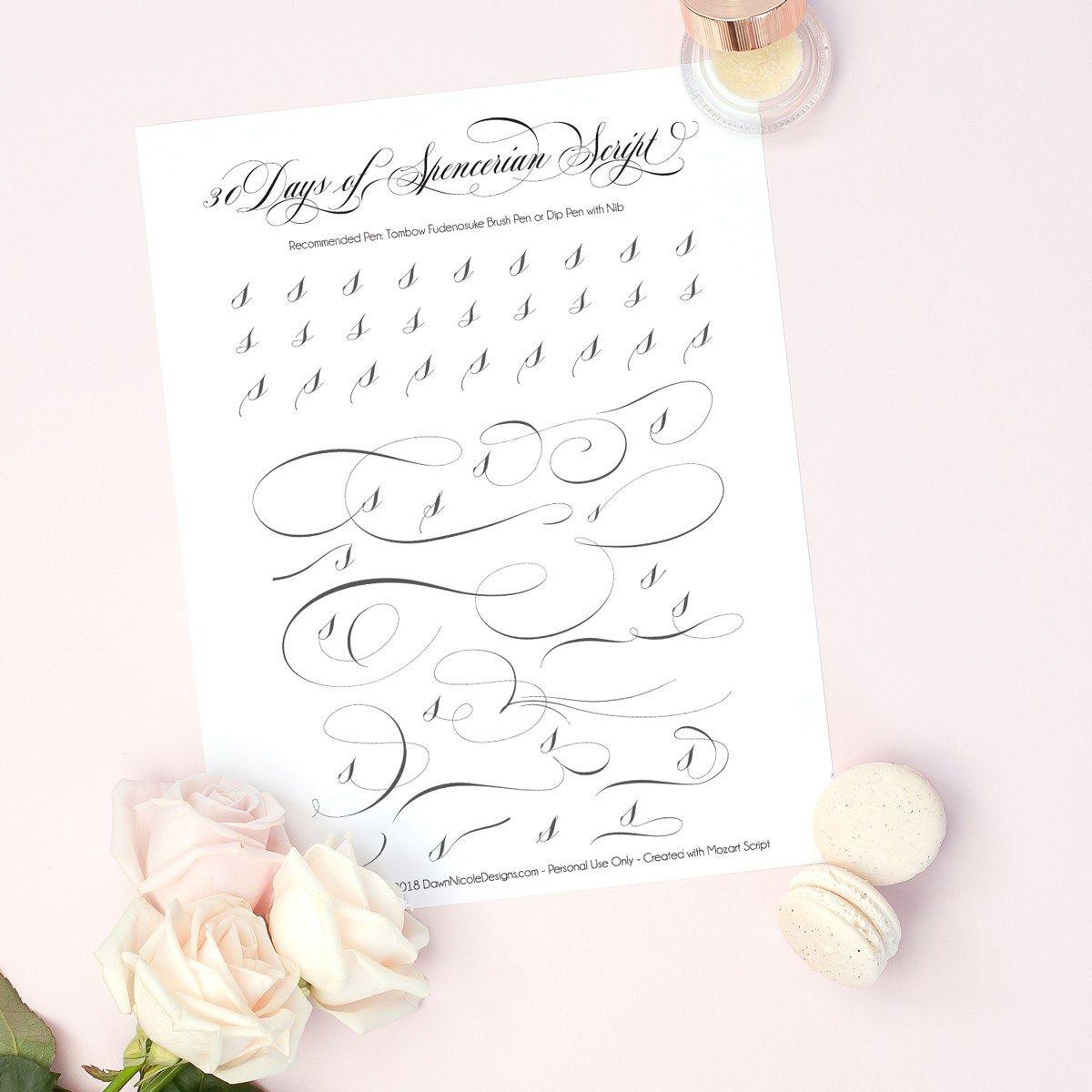 Spencerian Script Style Letter S Worksheets