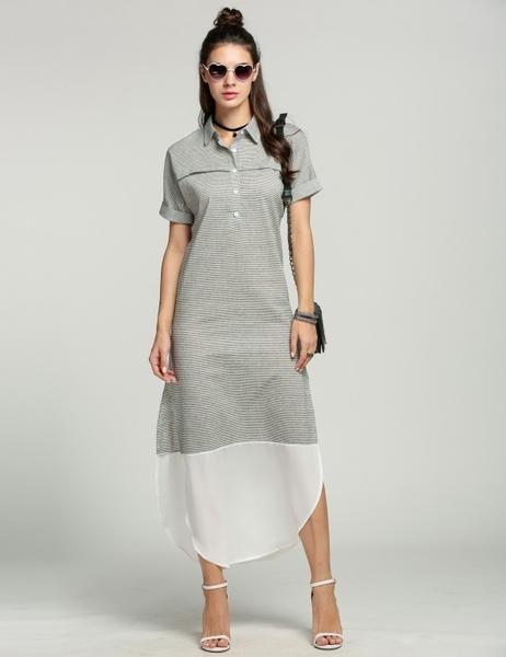 Side Slit Maxi Women Chic Long Striped Shirt Dress  266c6c9c7
