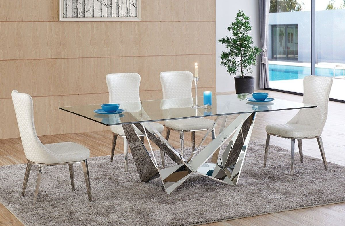 Bradley Modern Glass Top Dining Table Modern Dining Table Glass