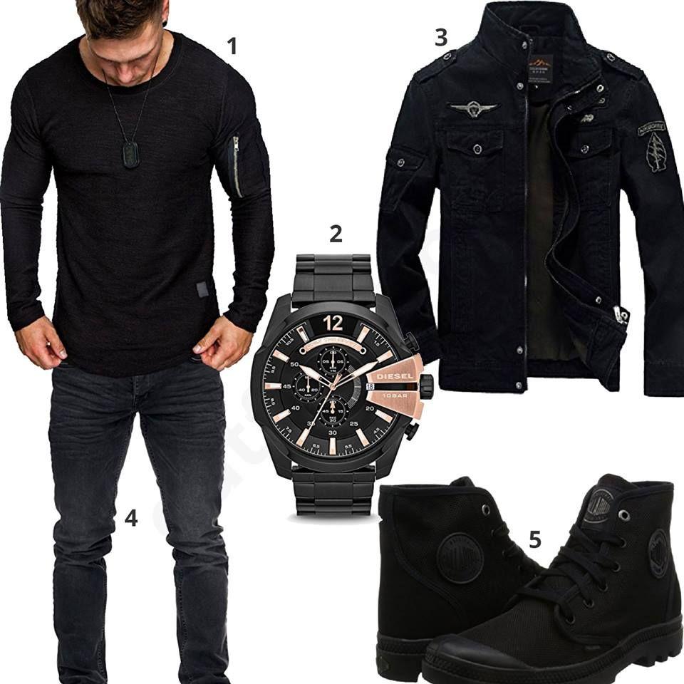 Komplett schwarzes Herren Outfit mit Palladium Schuhen