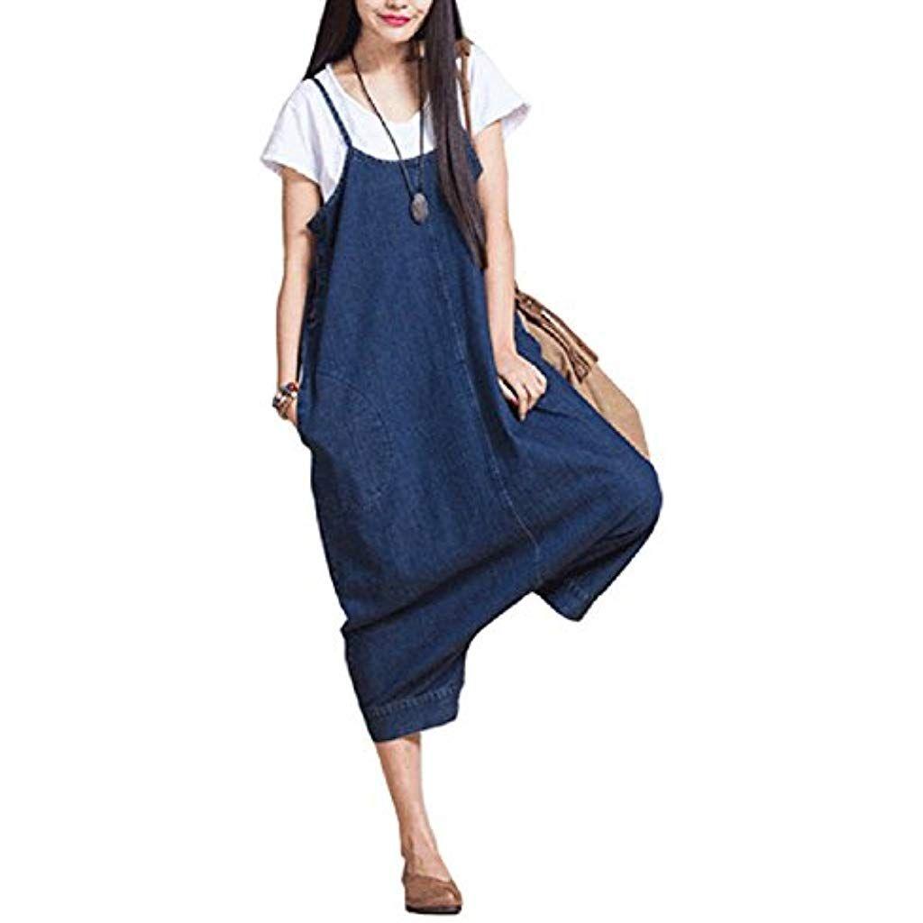 buy popular b6e58 ac57d Landove Salopette Donna Jeans Strappati Pagliaccetti Lunghi ...