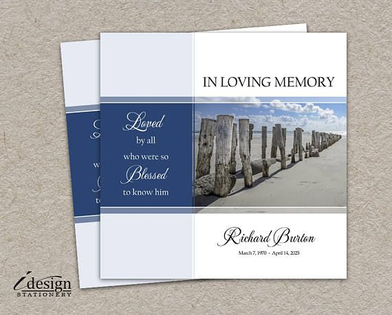 Loving Memory Memorial Service Invitation Funeral Announcement For