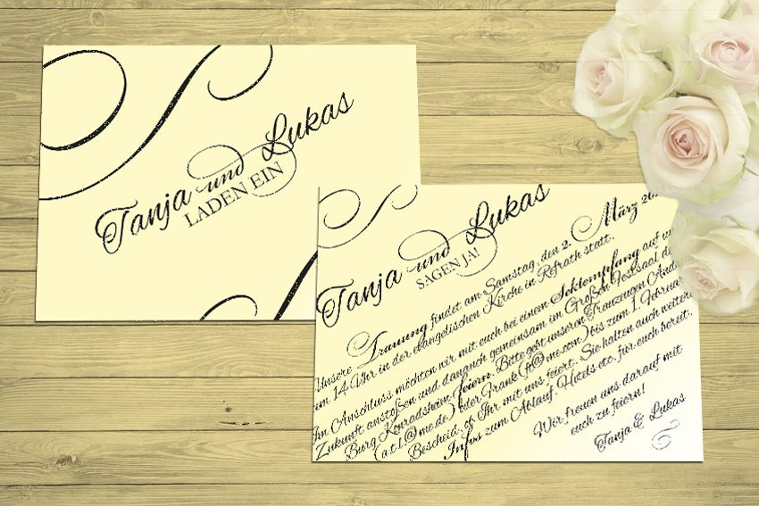 einladung im format din a6, thema: vintage/calligraphy/typographie, Einladung
