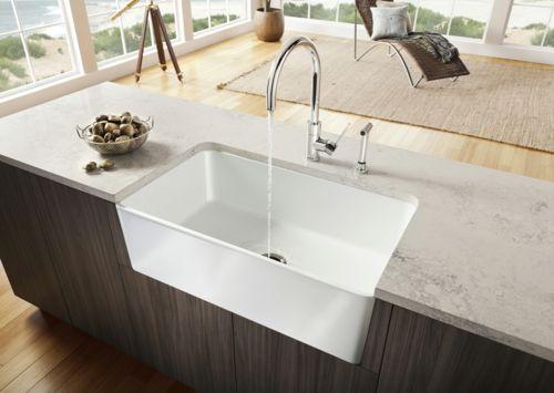 küche spüle material idee arbeitsplatte weiß eingebaut design - keramik arbeitsplatten kueche design