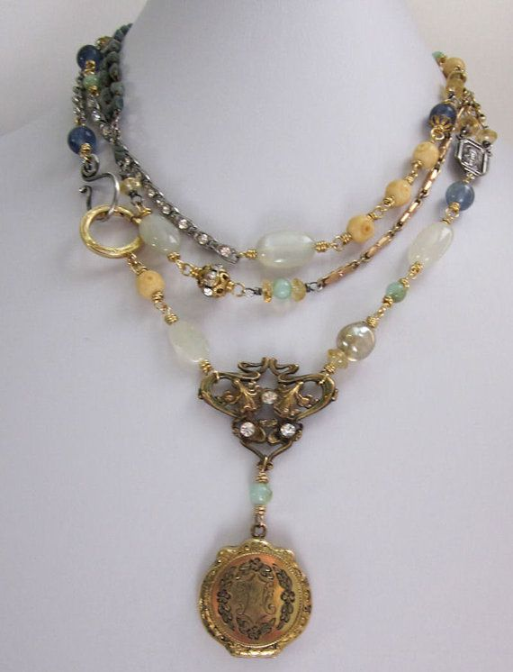 Triple Wrap Repurposed Locket Necklace Gold Filled, Rosary Beads, Moonstones, Opal, Sterling Silver, Multi Strand Upcycled Jewelry OOAK #rosaryjewelry