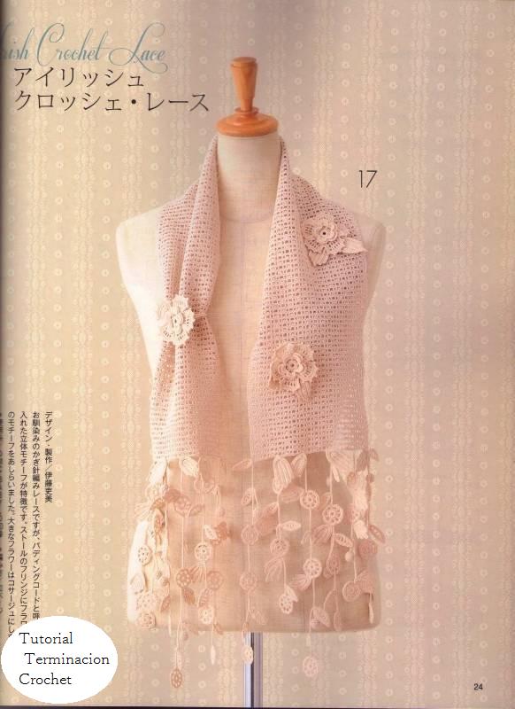 Tutorial Terminaciones Bufanda Flores y Hojas - Patrones Crochet ...