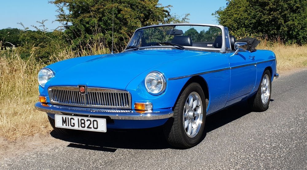 eBay: MGB Roadster in Pageant Blue with Chrome Conversion