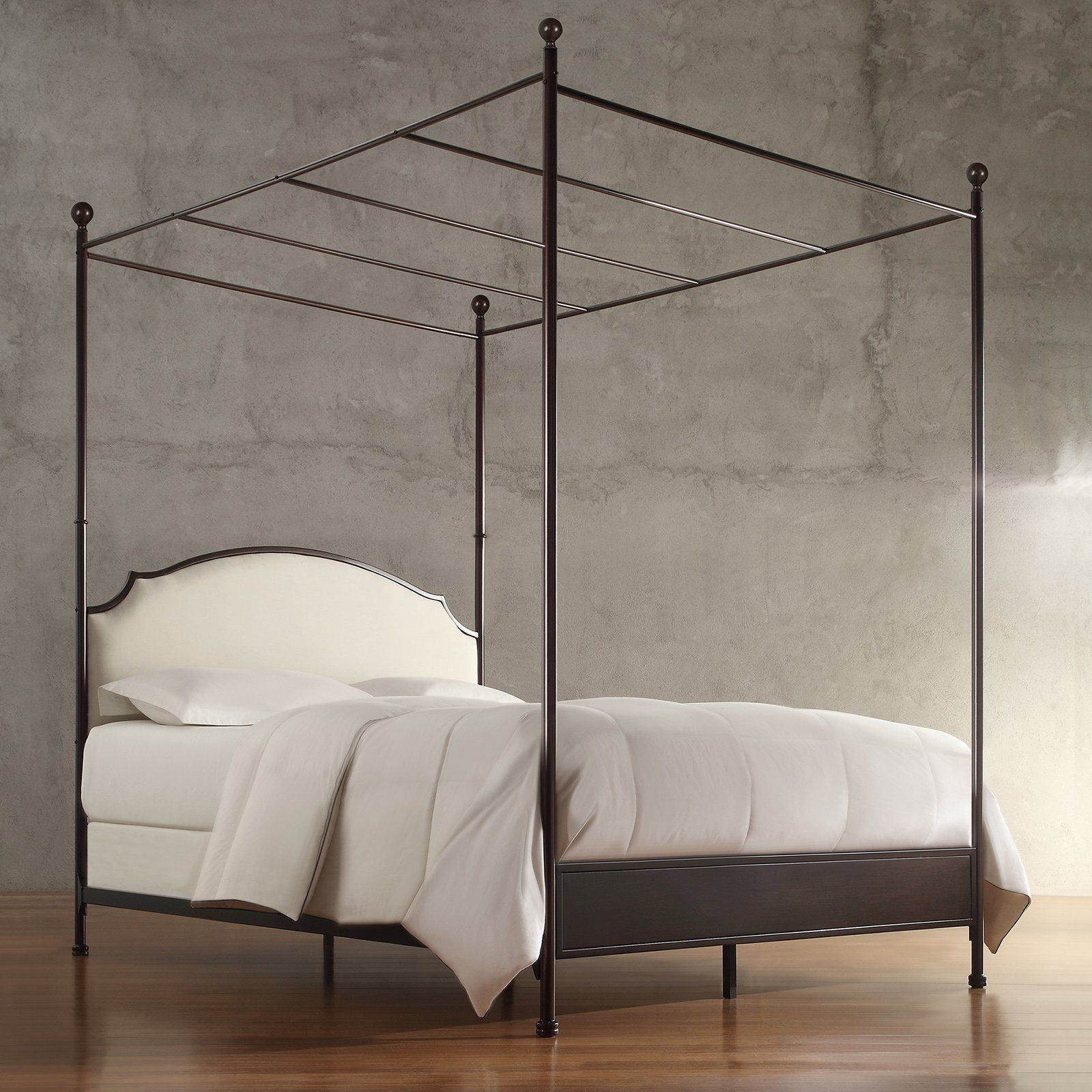 Weston Home Swindon Upholstered Metal Canopy Bed Metal