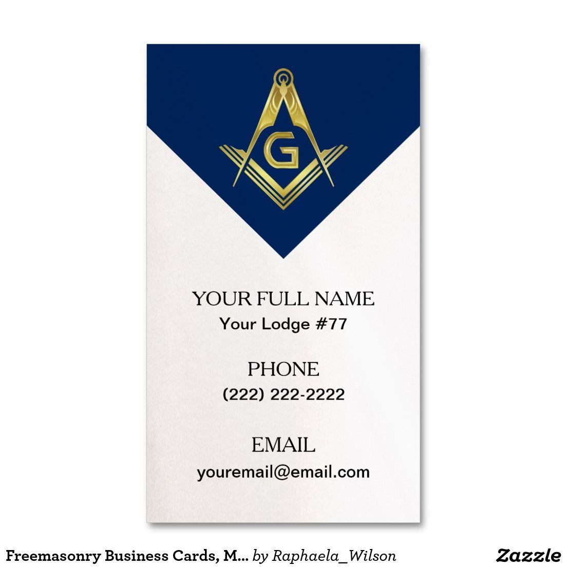 Freemasonry Business Cards, Masonic Blue Navy Gold Business