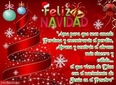 Tarjetas navide as con fondo rojo de amor y arbolito - Postal navidena infantil ...