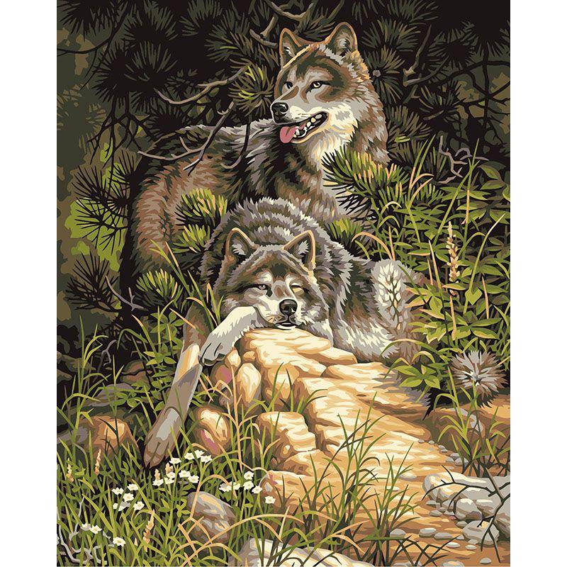 Sin marco lobo animales bricolaje pintura by números de acrílico ...