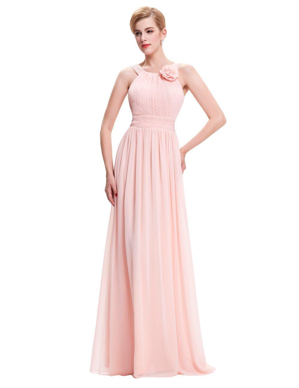 Elegant long chiffon pink bridesmaid dress beach bridesmaid