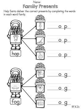 Christmas Kindergarten Literacy Worksheets (Common Core