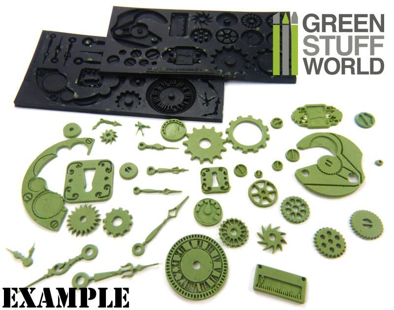 Pack X2 Steampunk Gummi Texturplatten Flexible Stempelplatte Steampunk Gears Steampunk Design Steampunk Diy