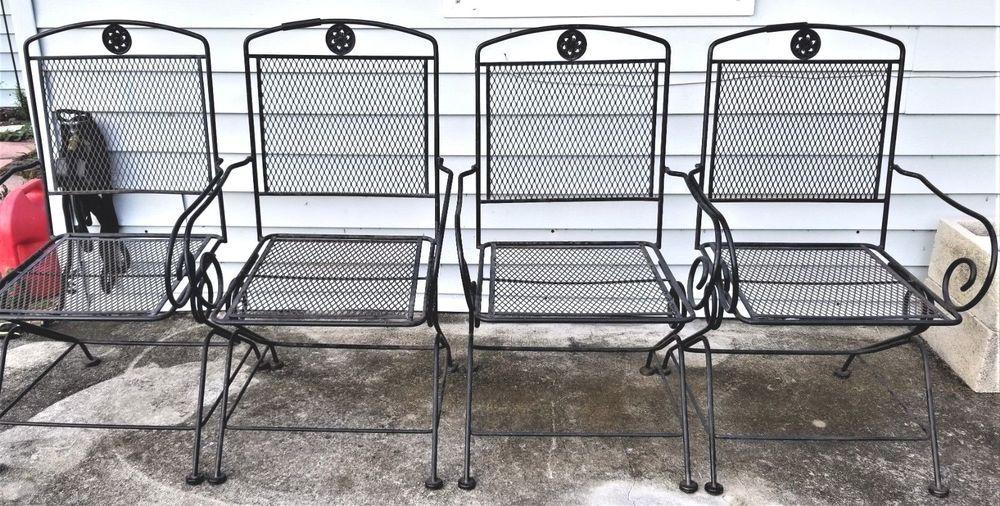 Set Of 4 Vintage Woodard Wrought Iron Rocker Dining Armchairs