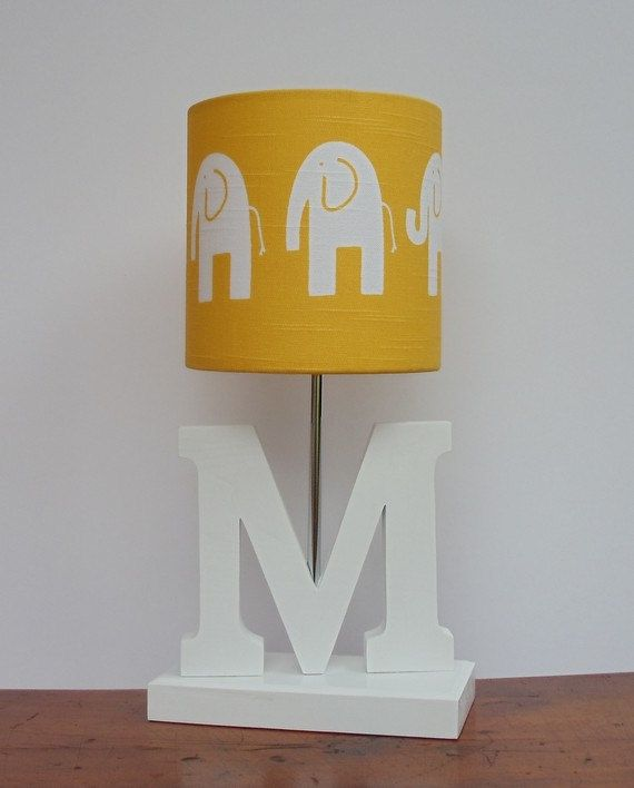 Handmade Yellow White Elephant Drum Lamp Shade Great For Nursery Or Babys Room Via Etsy