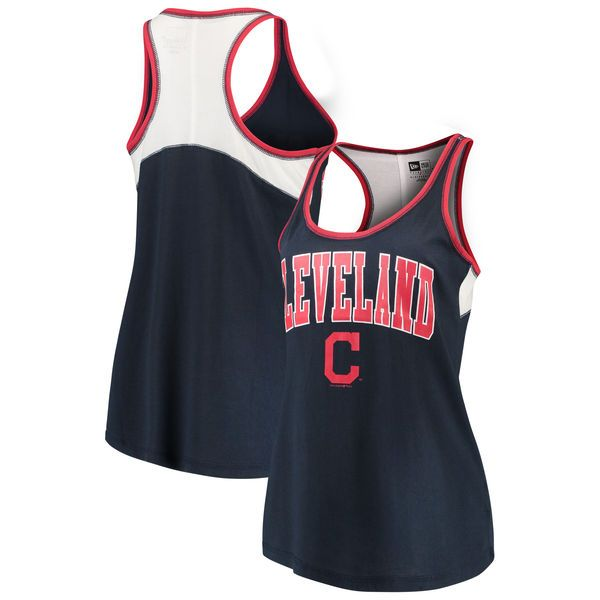 a99530f2c7e Women's Cleveland Indians 5th & Ocean by New Era Navy Baby Jersey Racerback  Tank Top
